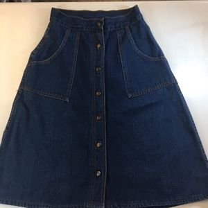 Vintage A-Line Jeans Denim Skirt w/ patch pockets